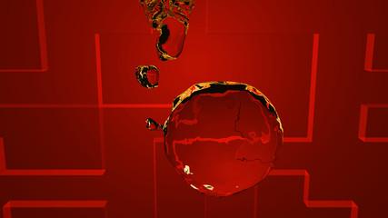 Wasserball auf rotem Hintergrund, 3d Illustration