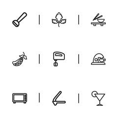Set Of 9 Editable Cooking Icons. Includes Symbols Such As Blender, Herb, Microwave And More. Can Be Used For Web, Mobile, UI And Infographic Design.