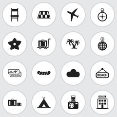 Set Of 16 Editable Journey Icons. Includes Symbols Such As Overcast, Aircraft, Bloom And More. Can Be Used For Web, Mobile, UI And Infographic Design.