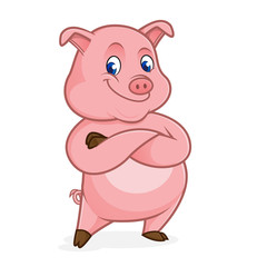 Pig cartoon folding hands