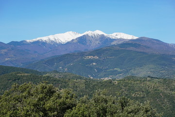 Mountain landscape, the Canigou located in the Pyrenees of southern France, Pyrenees Orientales