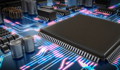 3D rendered illustration of processor or microchip and glowing signals.