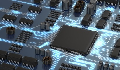 3D rendered illustration of electronical circuit with microchip.