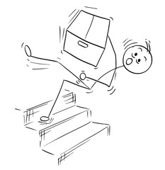 Vector Stick Man Cartoon of Man Falling from Stairs Staircase Stairway with Large Paper Box