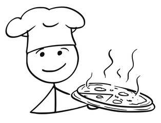 Vector Stick Man Cartoon of Male Cook Chef in Hat Holding Plate Tray with Pizza