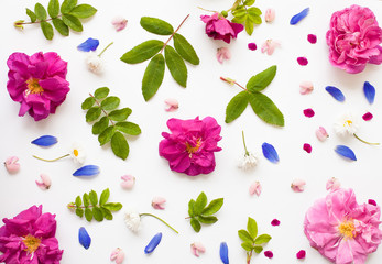 Romantic flat lay floral background