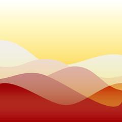 Flat design sunset waves or hills on landscape
