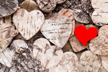 Background with wooden hearts.