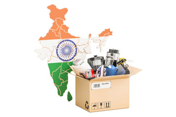 Production, shopping and delivery of household appliances from India concept, 3D rendering