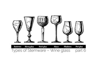 illustration of Stemware types