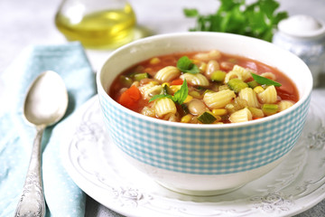 Minestrone - traditional italian vegetable soup.