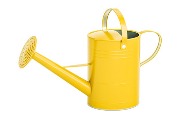 Yellow watering can, 3D rendering