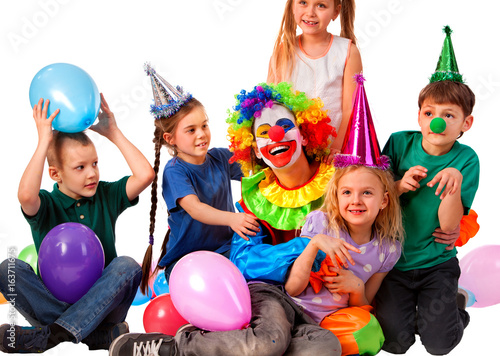 Birthday Child Clown Playing With Children Kid Wearing Party Hat Hold Balloons Happiest