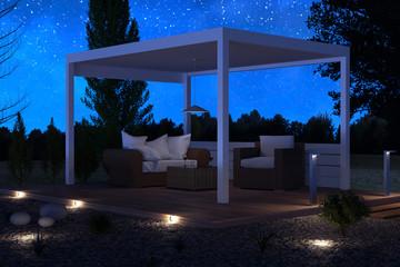 Freistehendes Terrassendach mit Rattan Möbel vor wunderschönem Sternenhimmel