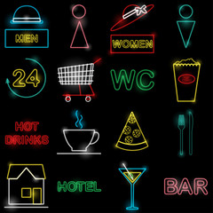 Neon icon set Vector illustration Colorful icons in form of neon lamps for bars, pubs, cafes and stores on black background Trendy icons set