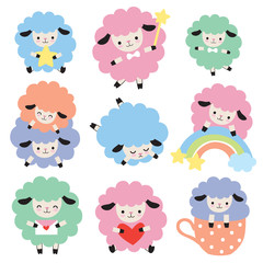 Vector illustration of cute colorful sheep with heart, star, and rainbow.