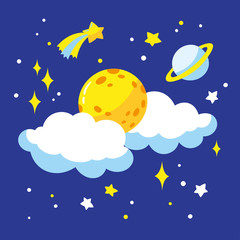 Cartoon full moon and clouds in the night sky. Vector illustration is suitable for greeting cards, posters and prints on t-shirts.