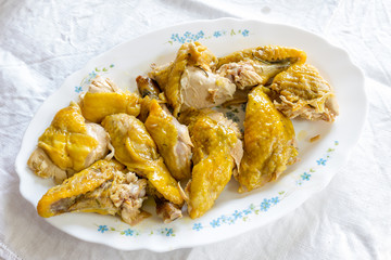 Chicken pieces cooked in the oven