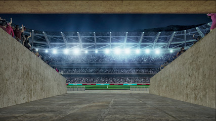 soccer field with lights and spectors 3d rendering view from entering corridor