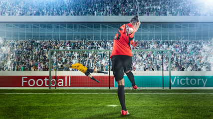 female soccer player taking penalty on crowded stadium