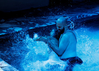 """Actors take part in the dress rehearsal of an adaption of Roman poet Ovid's """"Metamorphoses"""" during the Malta International Arts Festival in Valletta"""