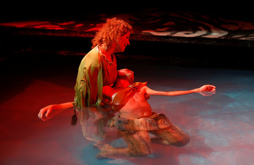 """Actors of Unifaun Theatre take part in the dress rehearsal of an adaption of Roman poet Ovid's """"Metamorphoses"""" during the Malta International Arts Festival in Valletta"""