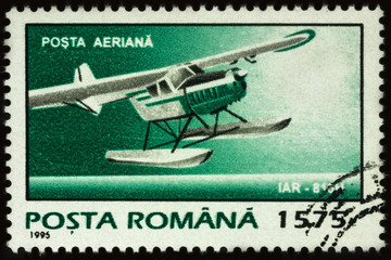 Old hydroplane on postage stamp