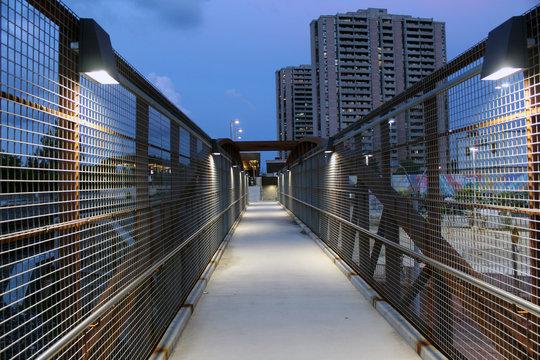 Weston Up walkway at night