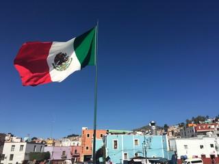 Mexican Flag in Guanajuato, Mexico.