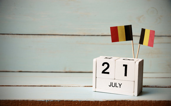July 21 Wooden calendar Concept independence day of belgium and Belgium national day.Vintage tone