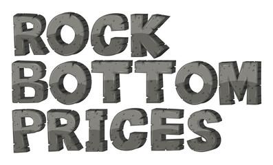Font deisgn for phrase rock bottom prices