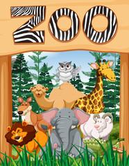 Wild animals under zoo sign