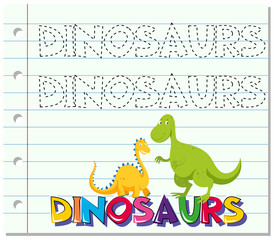 Tracing word for dinosaurs