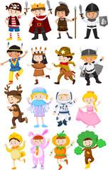 Children in different costumes
