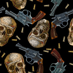 Embroidery skulls and guns seamless pattern. Wild west embroidery old revolvers and human skulls, gangster gothic background
