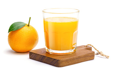 Foto op Canvas Sap Glass of fresh orange juice isolate on white background, Fresh fruits Orange juice in glass with group of orange on white