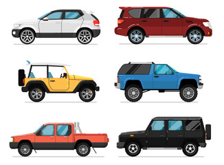 Modern city car set. Hatchback, universal, pick up, van, off road truck, suv isolated vector illustration on white background. Comfortable auto vehicle, side view people city transport in flat design.