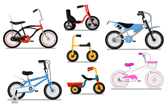 Different types bicycle for kids set. Tricycle and classic bikes for boy and girl, children toy isolated vector illustration in flat design. Outdoor people transportation and travel activity.