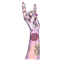Pink gothic emo witch girl hand in rock n roll sign with human skull and rose flash tattoo. Rock and metal music poster. Female feminine wrist or fist with gesture of demon, evil, Satan. Vector.