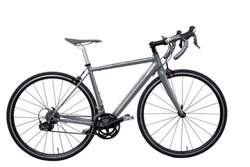 grey road bike/bicycle on white background  isolated