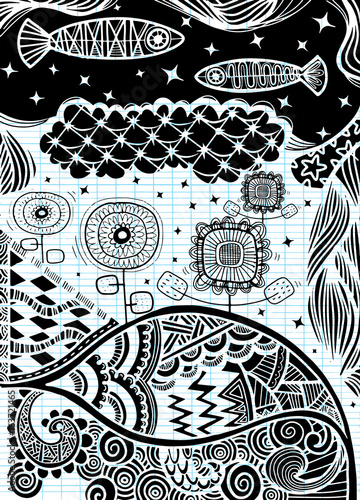 Vector pattern with zentangle background. Vector ethnic pattern can be used for wallpaper, pattern