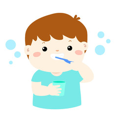 Happy boy brushing teeth cartoon vector.