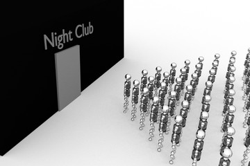 Robots are facing the Night Club. BW. 3D rendering.