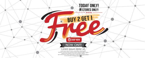 Buy 2 Get 1 Free 6250x2500 pixel Banner Vector Illustration Wall mural