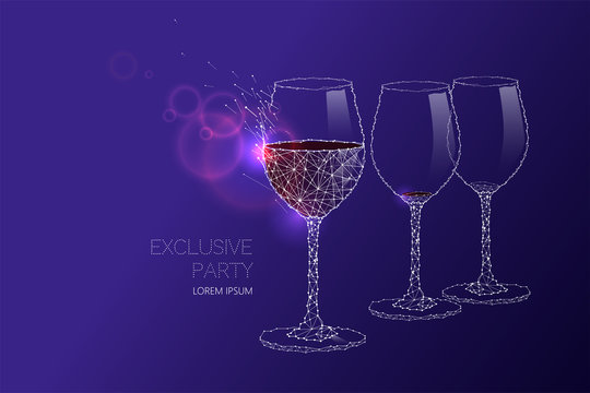 Wine glass with light effect and starry sky