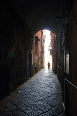 Old alley in the center of Naples