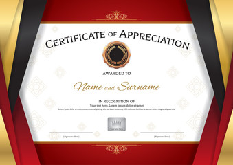 Luxury certificate template with elegant golden red border frame, Diploma design for graduation or completion