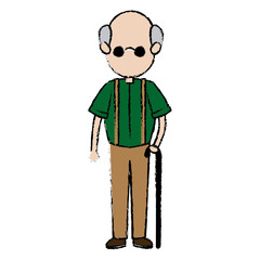 grandfather parent male member of family walking with cane