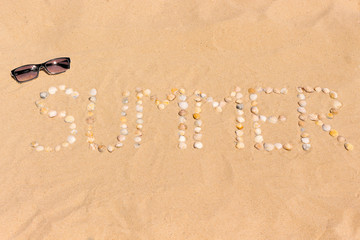 abstract word summer made of seashells on a sand with sunglasses