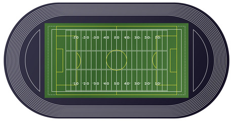 American Football Field Top View.